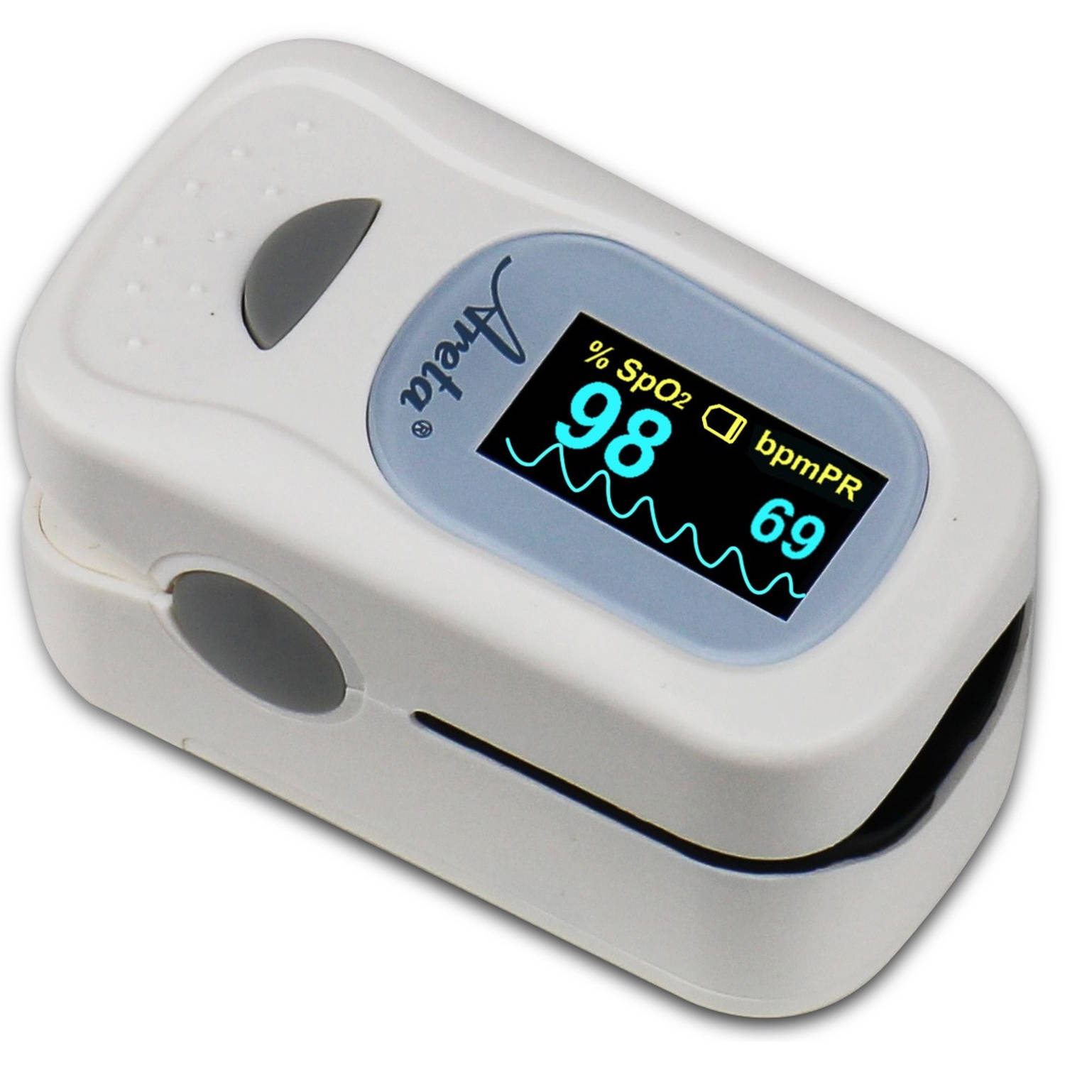Easy@Home Areta Fingertip Pulse Oximeter with Luxury Dual-color OLED Display in 4 Directions and 8 Modes and Built-In Alarm Setup, Free Carry Case and Neck/Wrist Cord