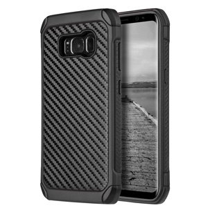 Samsung Galaxy S8 Plus Case,Hybrid Protective Back Case with Carbon Fiber Finish for Samsung Galaxy S8 Plus SM-G955U, Samsung Galaxy S8 Plus - Black/ Black