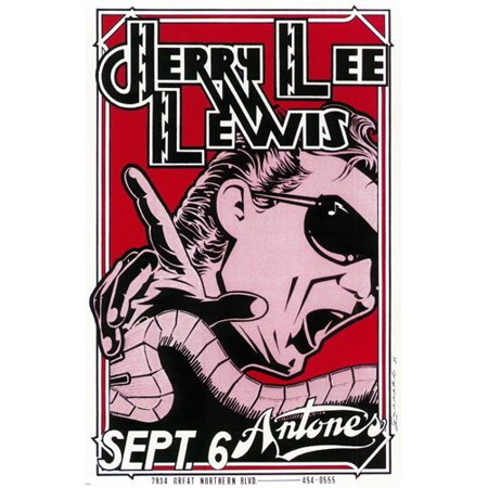Shoe Comic Strip (Jerry Lee Lewis 1986 Concert Poster Comic Strip Style Country Piano 24X36)