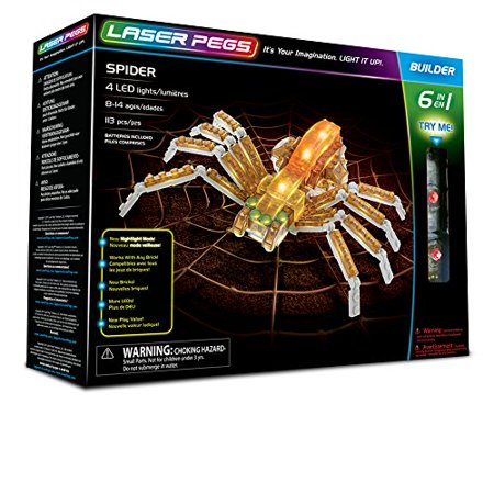 Laser Pegs Spider 6-in-1 Building Set; The First Lighted Construction Toy to Ignite Your Child's Creativity; It's Your Imagination, Light It Up - Building Toys For Adults