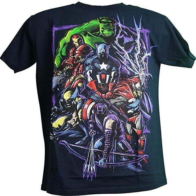Marvel Team Up Thor Hulk Iron Man Wolverine Captain America Adult Men's T-Shirt (X-Large)