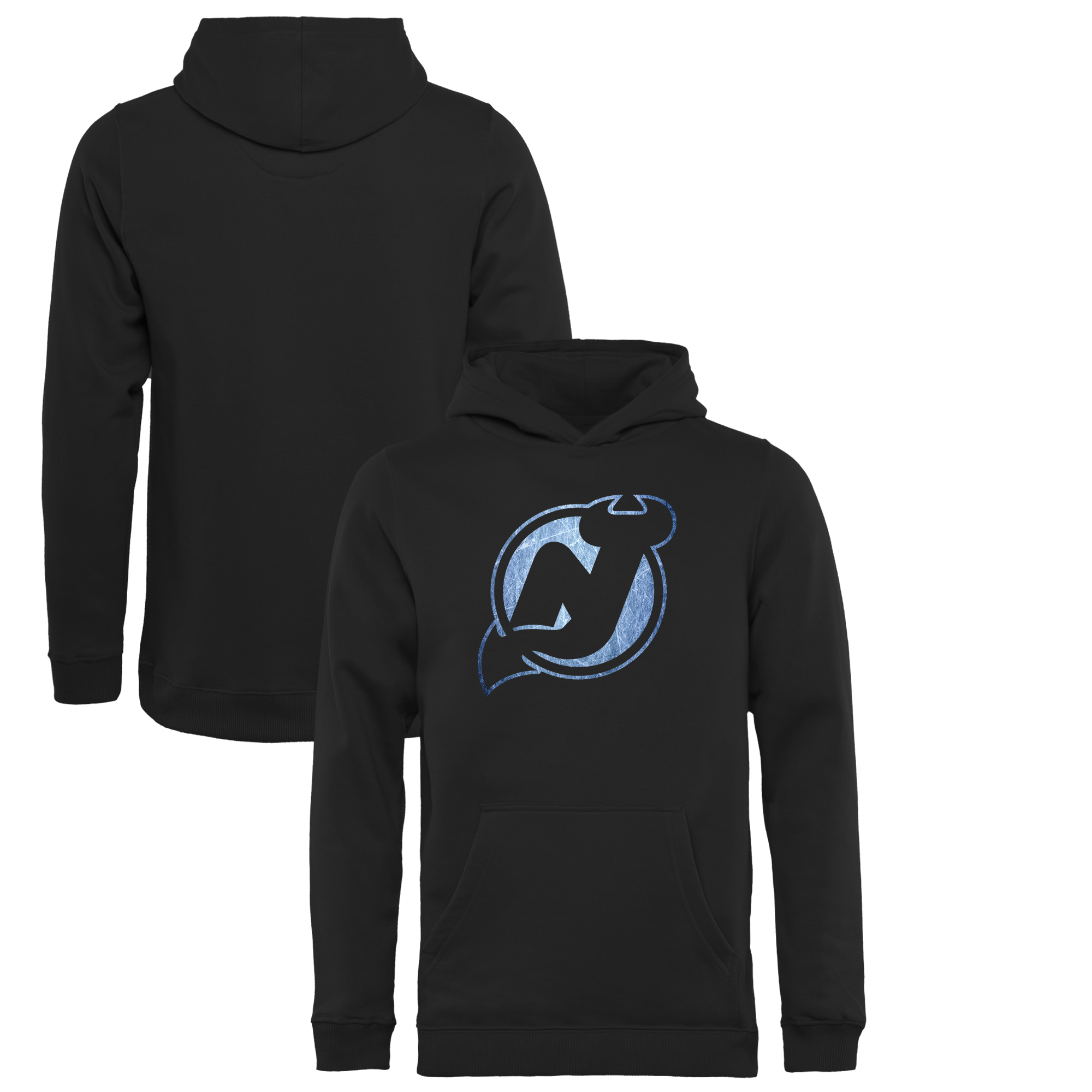 New Jersey Devils Youth Pond Hockey Pullover Hoodie - Black