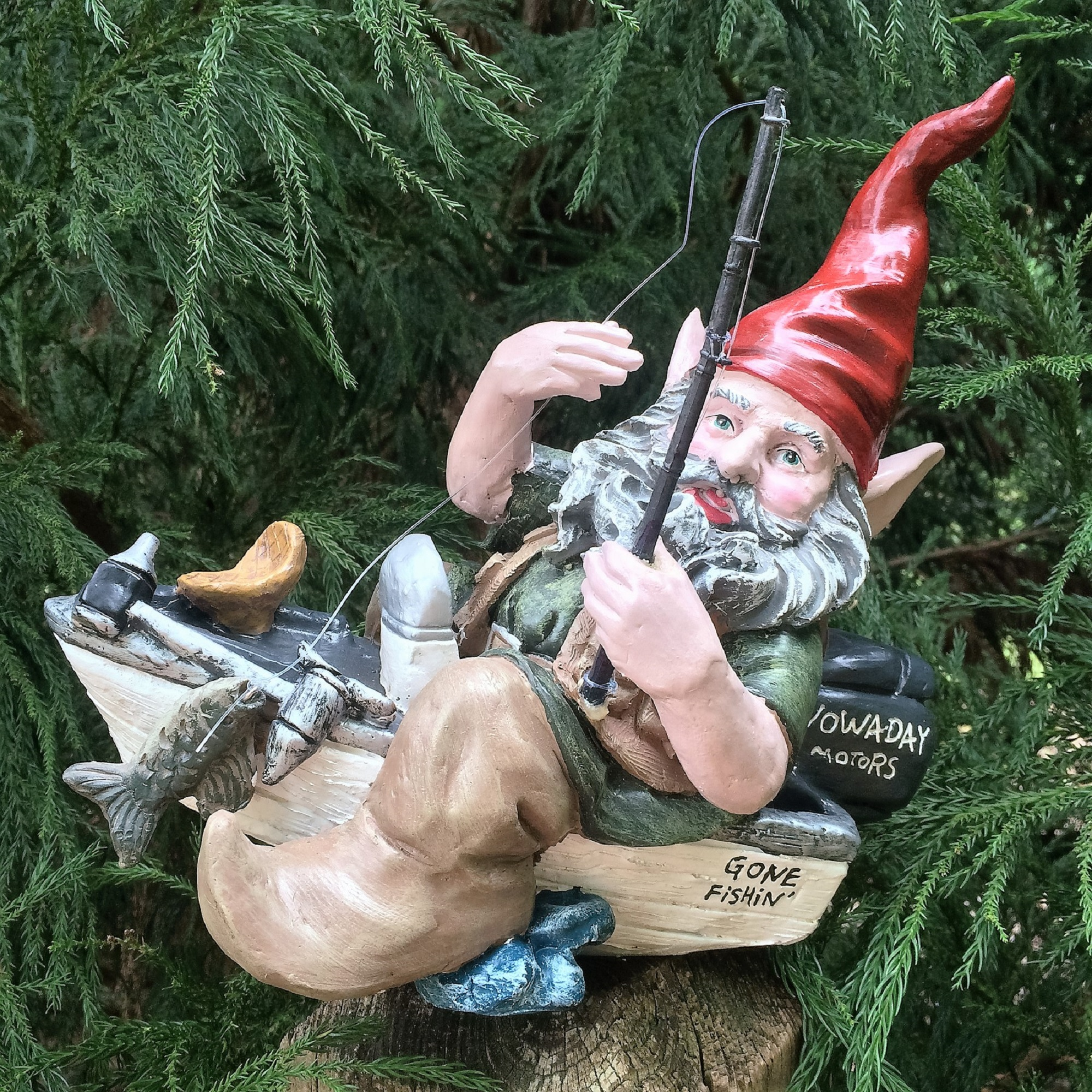 """Homestyles Fisherman in Bass Boat with Fishing Pole Garden Gnome Outdoor Statue 12""""L by GSI Homestyles"""