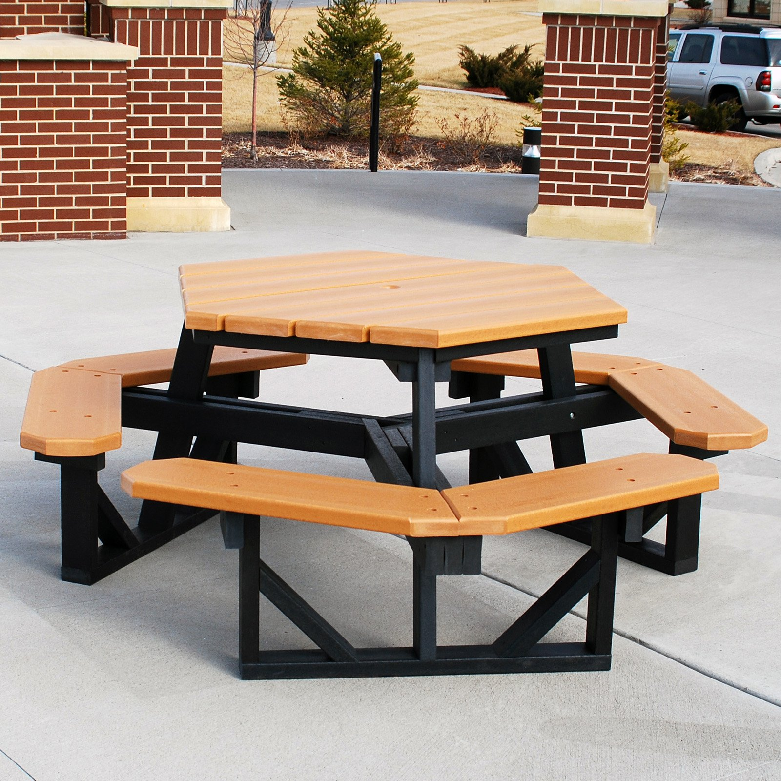 Jayhawk Plastics Hex Recycled Plastic Commercial Picnic Table - Recycled plastic hexagonal picnic table