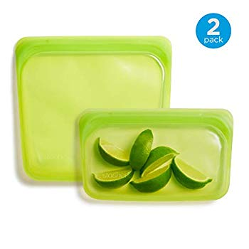 Reusable Silicone Food Bag, Sandwich Bag and Snack Bag, Storage Bag, Lime Green