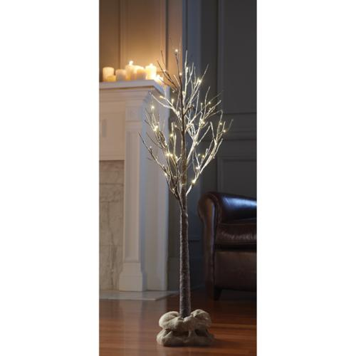 MerchSource, LLC Apothecary & Company Decorative 4ft LED Snow Tree with Burlap Sack