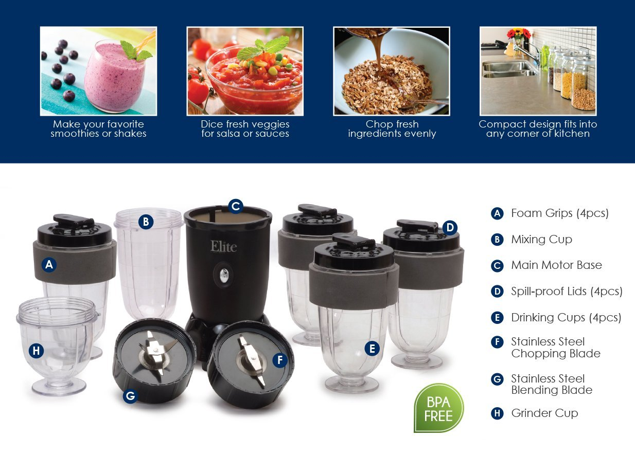 elite cuisine 17-piece personal drink blender with (4) 16-oz