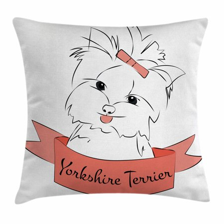 Yorkie Throw Pillow Cushion Cover, Cute Puppy with Hair Buckle Yorkie Terrier Animal Ribbon Cartoon Character Print, Decorative Square Accent Pillow Case, 16 X 16 Inches, Pink White, by (Square Covered Buckle)