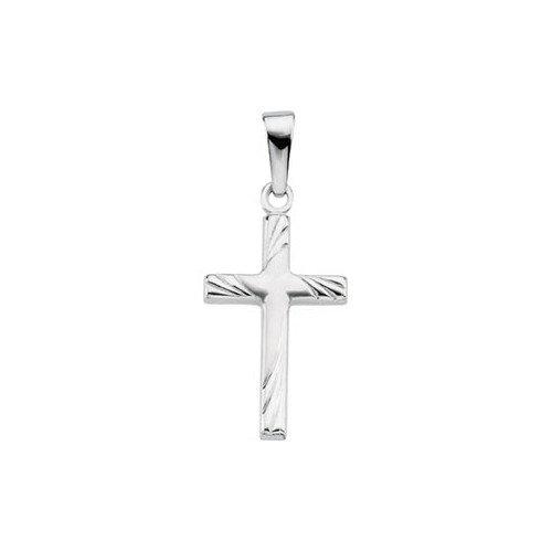 Jewelryweb 14k White Gold Cross Pendant17.5x12