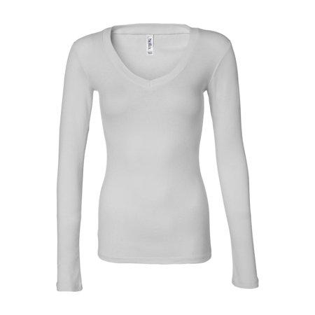 8fd677f53 BELLA+CANVAS - Bella + Canvas T-Shirts - Long Sleeve Women's Long Sleeve  Sheer Mini Rib V-Neck Tee 8750 - Walmart.com