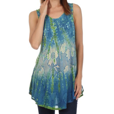 Sakkas Ombre Floral Tie Dye Flared Hem Sleeveless Tunic Blouse - Blue / Cream - One Size