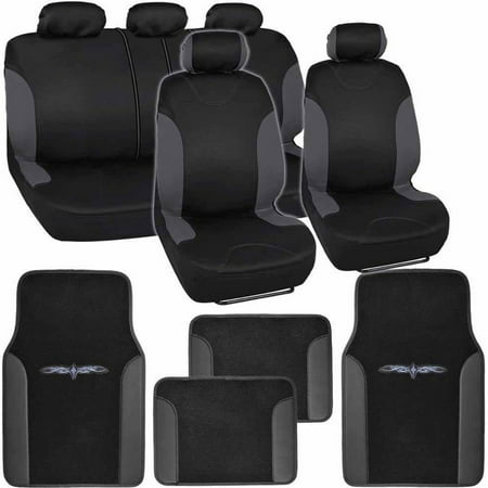 BDK Sleek and Style Car Seat Covers with 4 Pieces Floor Mats, Split Bench, Easy Installation, 3 - Seat Cover Installation Kit