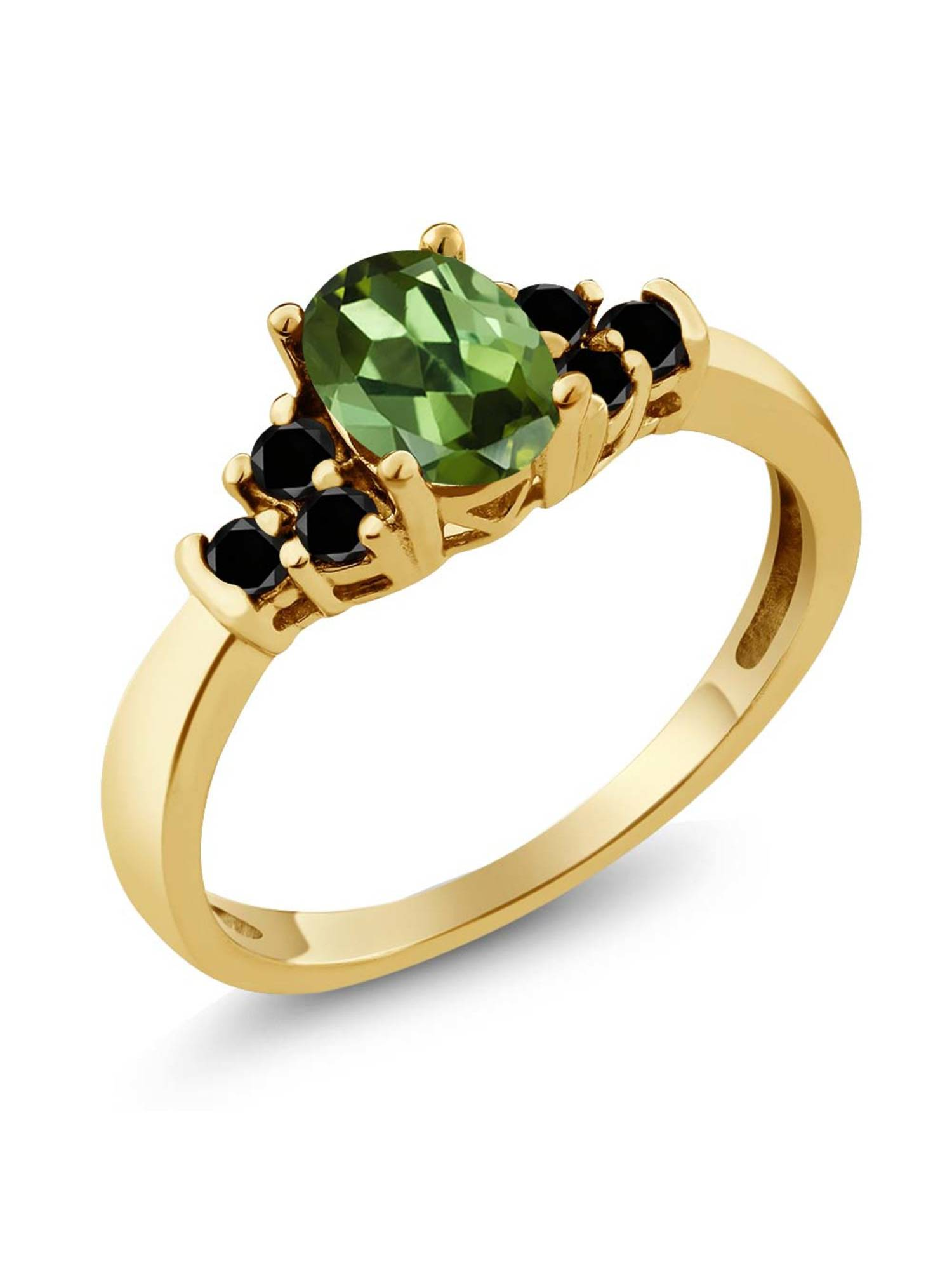 0.76 Ct Oval Green Tourmaline Black Diamond 18K Yellow Gold Plated Silver Ring by