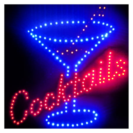 Cocktails LED Sign, Black, Blinking, Eye Catching, Attention Gathering, Bar, Shop, Wet Bar, Home, Office, Happy Hour, Wedding.Product Size: 18.89 x 18.89x0.75