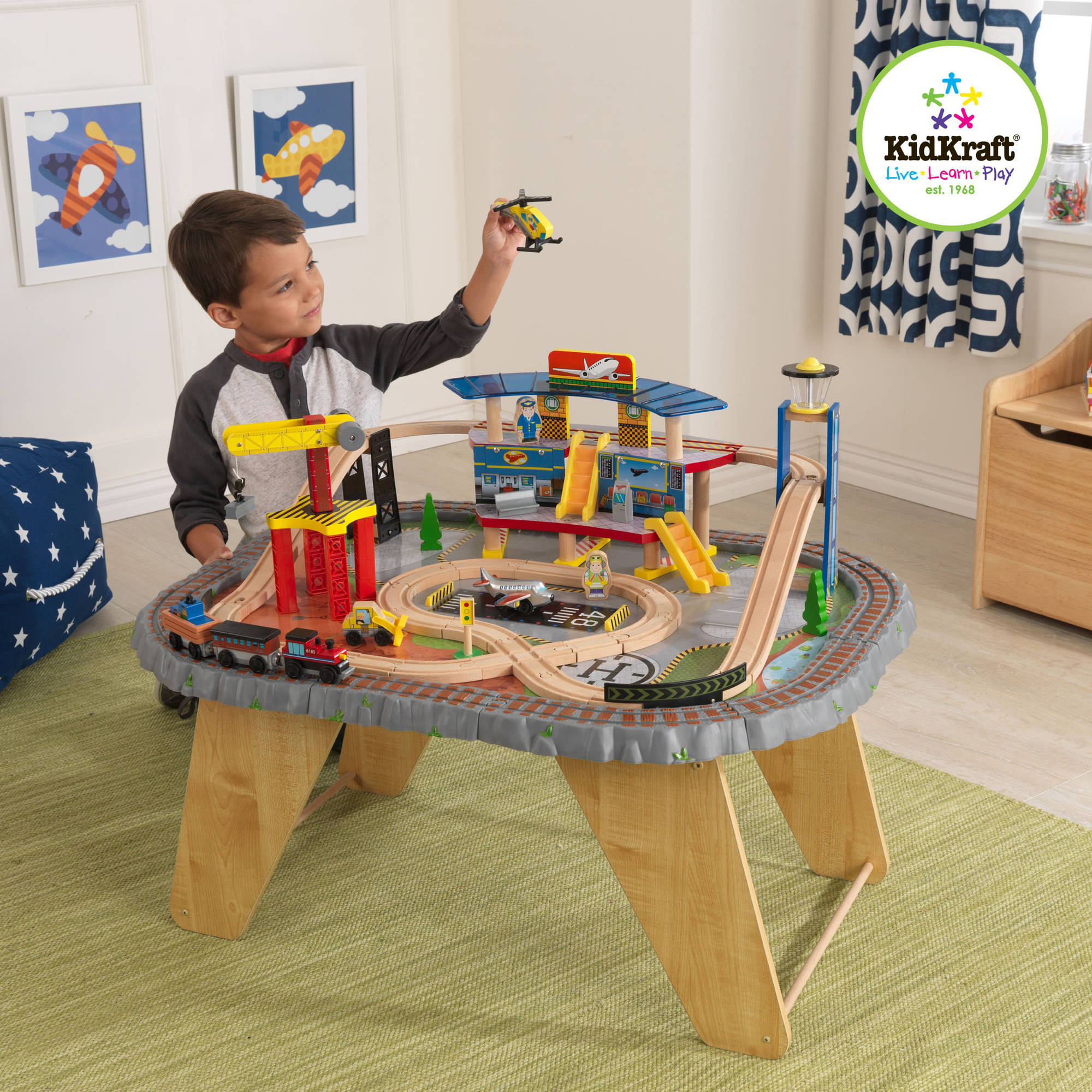 KidKraft Transportation Station 43-Piece Train Set and Table