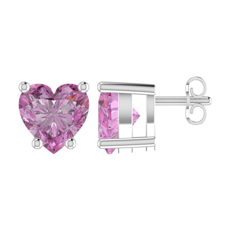 Pink Pouch - Solid Sterling Silver 5mm Heart Shaped 3 Carat Pink Cubic Zirconia High Polished Stud Earrings with Push Backs