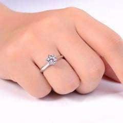 - ON SALE - Juliette 1CT Round Cut IOBI Simulated Diamond Solitaire Ring 6 / Platinum