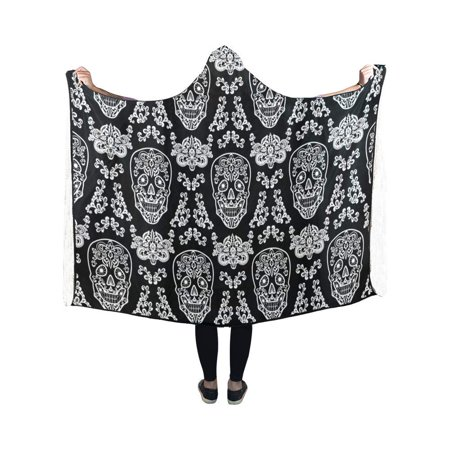 HATIART Day of The Dead Hooded Blanket Fashion Pilling Polar Fleece Wearable Blanket Throw Blanket 40x50 Inches - image 2 of 2