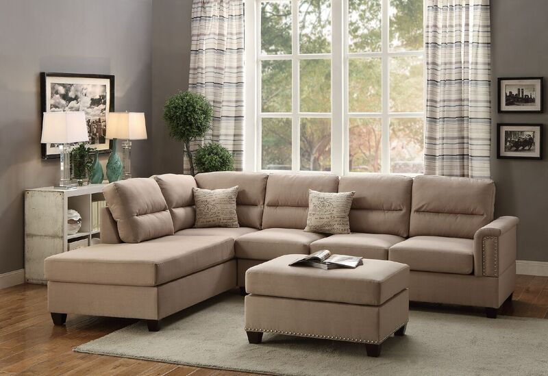 Simple Relax Modern Sectional Sofa Couch Reversible Chaise Ottoman