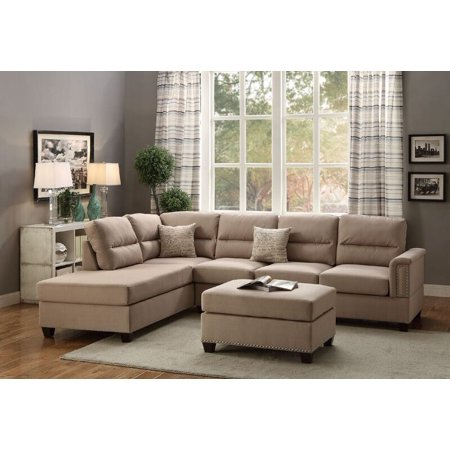 Simple Relax Modern Sectional Sofa Couch Reversible Chaise Ottoman Stud  Trim Sand Polyfiber