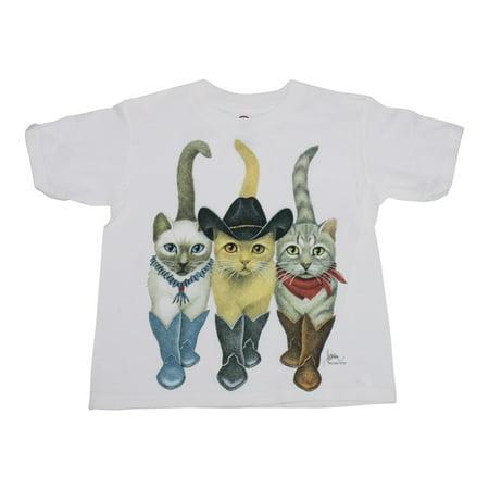 Girls White Cowcats Graphic Print Cotton Short Sleeve Trendy T-Shirt