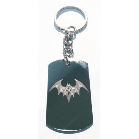 Night Winged Gothic Bat w/ Cross - Metal Ring Key Chain Keychain - Cross Key Chains