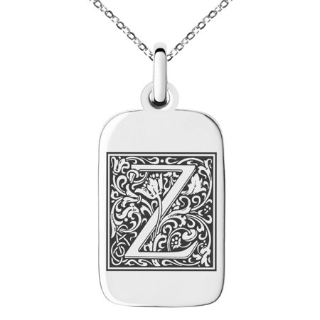 Stainless Steel Letter Z Initial Floral Box Monogram Engraved Small Rectangle Dog Tag Charm Pendant Necklace