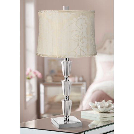Vienna Full Spectrum Art Deco Table Lamp Stacked Crystal Chrome Cream Drum Shade for Living Room Bedroom Bedside Nightstand Office Stacked Crystal Lamp