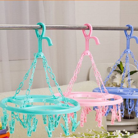 Hanging Dryer 18 Clips Pin Laundry Clothes Hanger Underwear Socks Foldable New