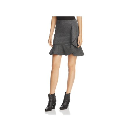 Three Dots Womens Ponte Ruffle Mini Skirt Gray M (Ponte Mini)