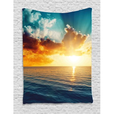Ocean Tapestry, Majestic Sunset over the Sea Scenic Idyllic Aquatic View Morning Picture, Wall Hanging for Bedroom Living Room Dorm Decor, Turquoise Orange Blue, by Ambesonne