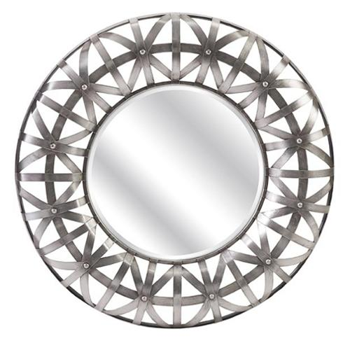 """32"""" Sona Industrial Inspired Studded Metal Round Beveled Wall Mirror"""