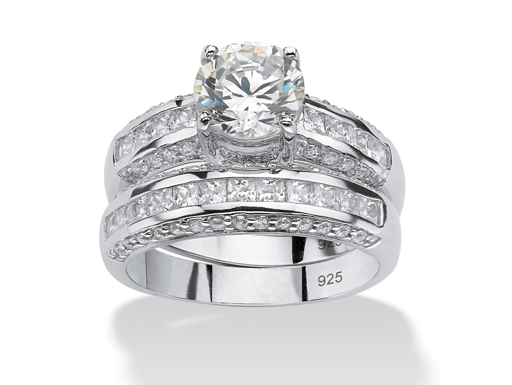 2 Piece 3.20 TCW Round Cubic Zirconia Bridal Ring Set in Platinum over Sterling Silver by PalmBeach Jewelry