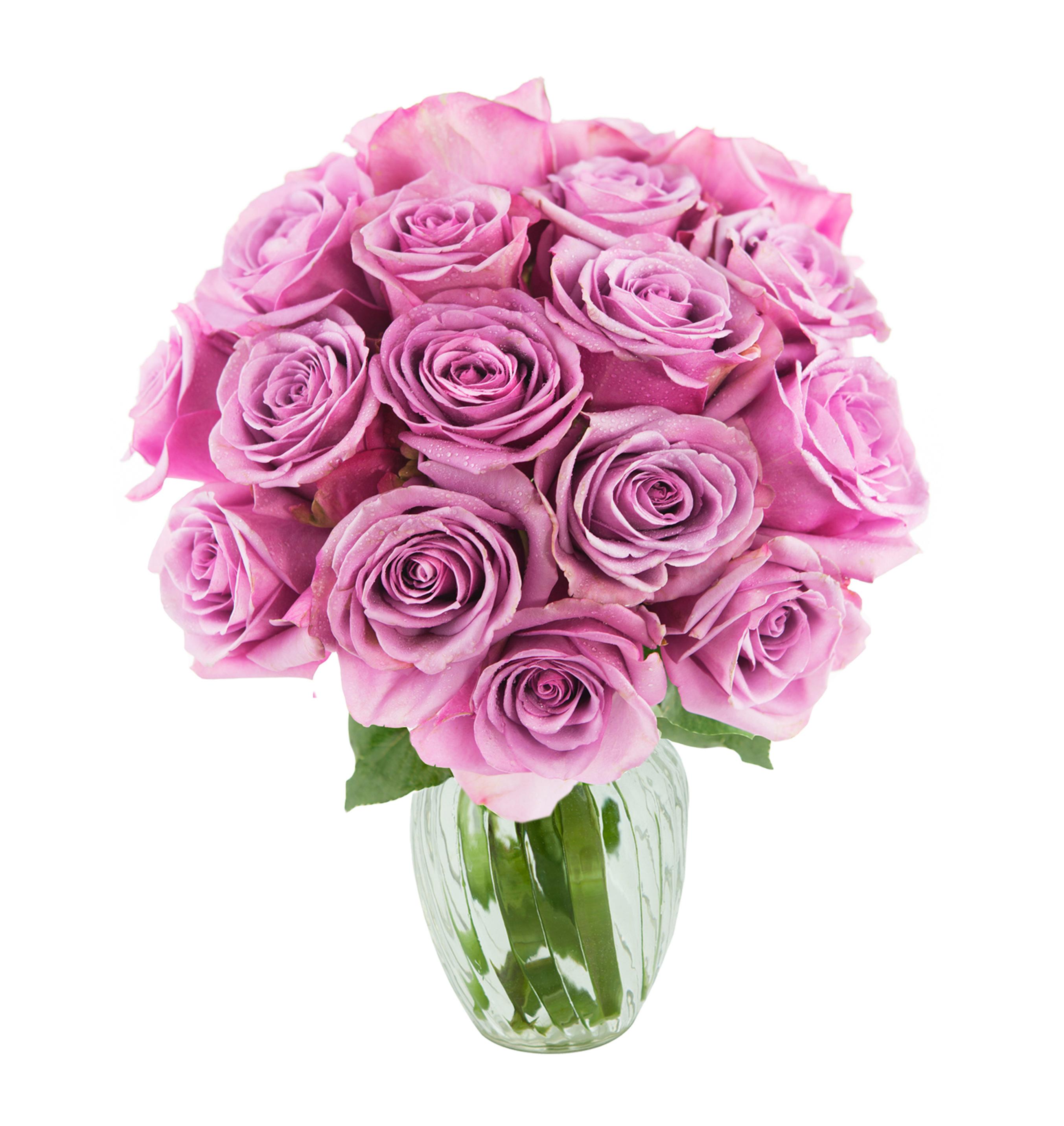 Kabloom Bouquet of 18 Fresh Purple Roses (Farm-Fresh, Long-Stem) with Vase