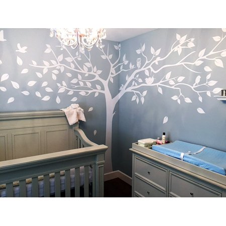 Popeven White Tree Wall Decal Large With Birds Sticker Birch Treecherry Blossom