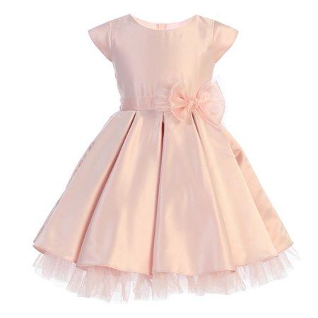 Little Girls Pink Full Pleated Satin Oversize Bow Easter Dress - Pink Little Girl Dresses