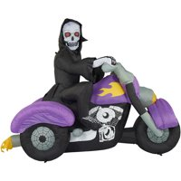 Haunted Hill Farm 8ft Inflatable Skeleton on Motorcycle w/Lights Deals