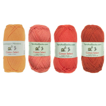 Cotton Select Sport Weight Yarn Color Palette Pack - 100% Fine Cotton - Shades of Orange - 4