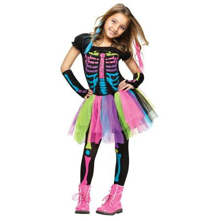 Goth Punk Funky Skull Skeleton Bones Tutu Dress Child Girls Halloween Costume