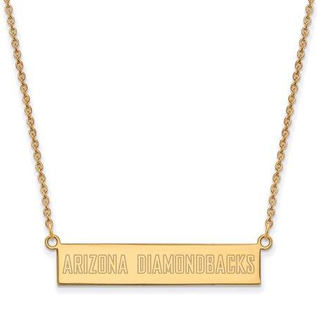 Arizona Diamondbacks Necklace (Arizona Diamondbacks Women's Gold-Plated Sterling Silver Small Bar Necklace - No)
