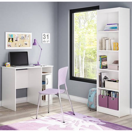 South Shore Smart Basics Small Work Desk and Narrow Bookcase, Multiple (Office Basics)