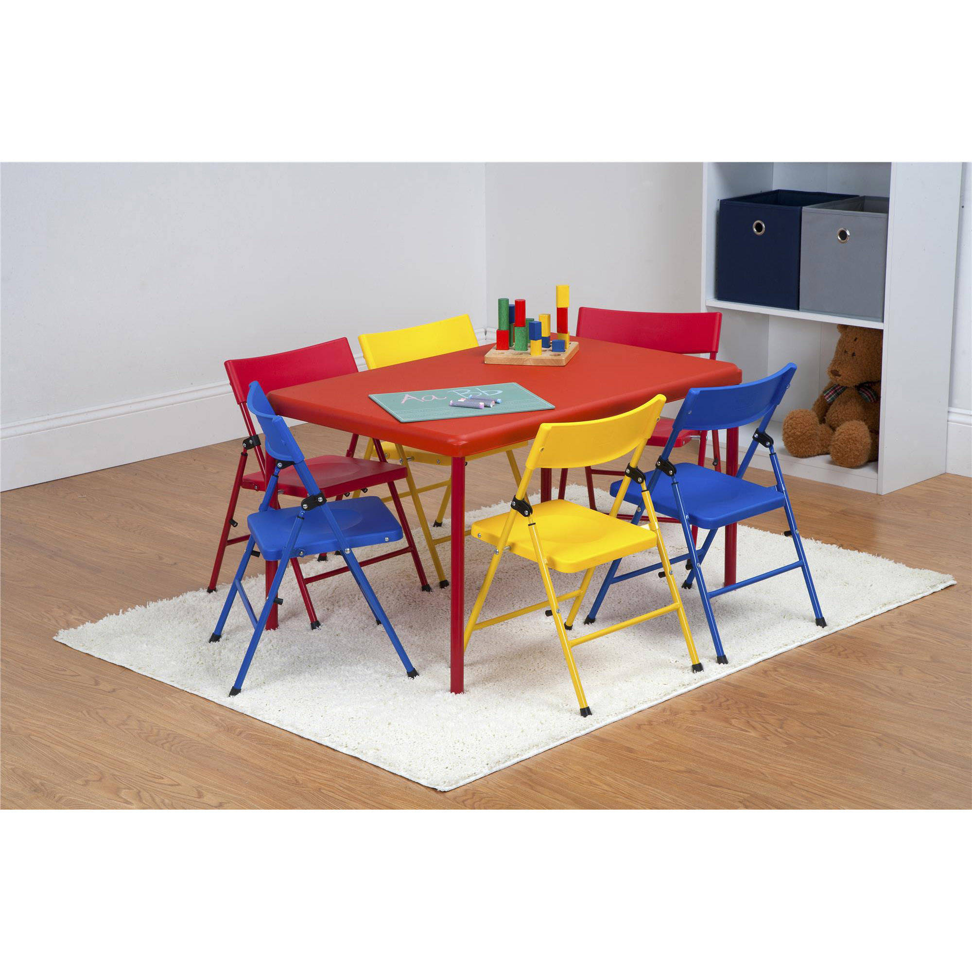 Toddler Folding Table And Chairs - Safety first 7 piece children s juvenile set with pinch free folding chairs and screw