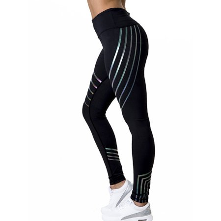 Women's Striped Leggings Gym Fitness Workout Pants