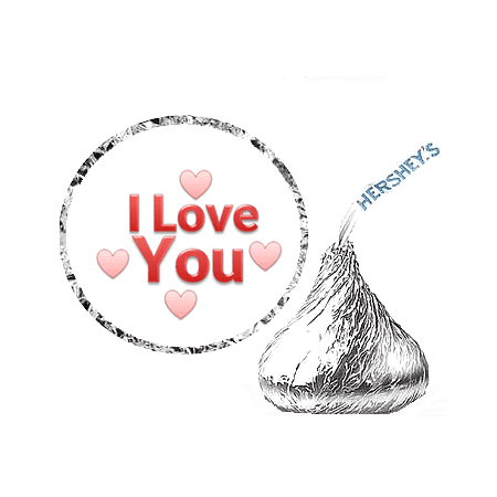 216 I Love You Valentine Party Favor Hershey's Kisses Stickers / Labels for $<!---->