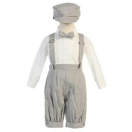 Little Boys Light Gray Suspenders Short Pants Hat Outfit Set - 70 Outfit