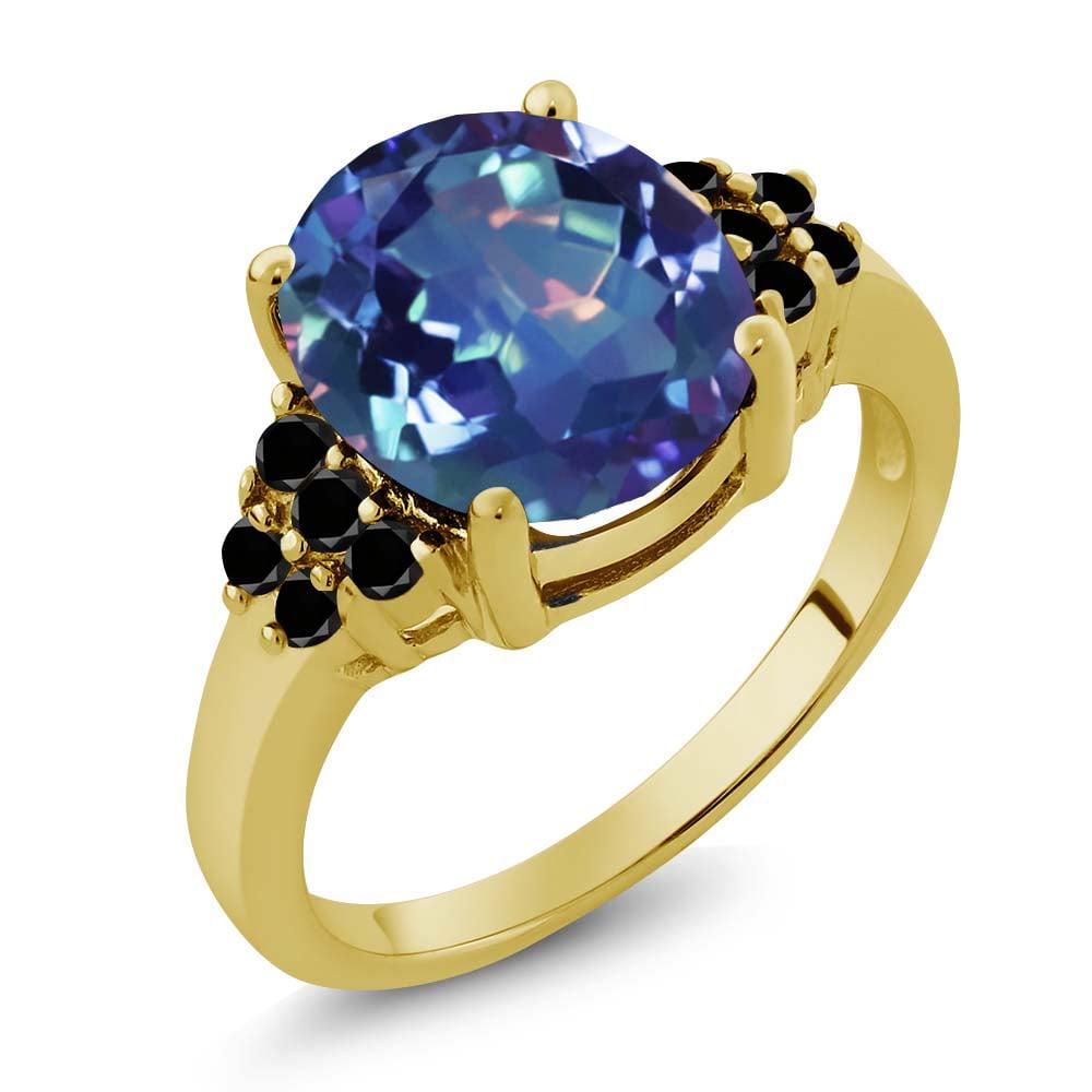 4.48 Ct Millenium Blue Mystic Quartz Black Diamond Gold Plated Silver Ring
