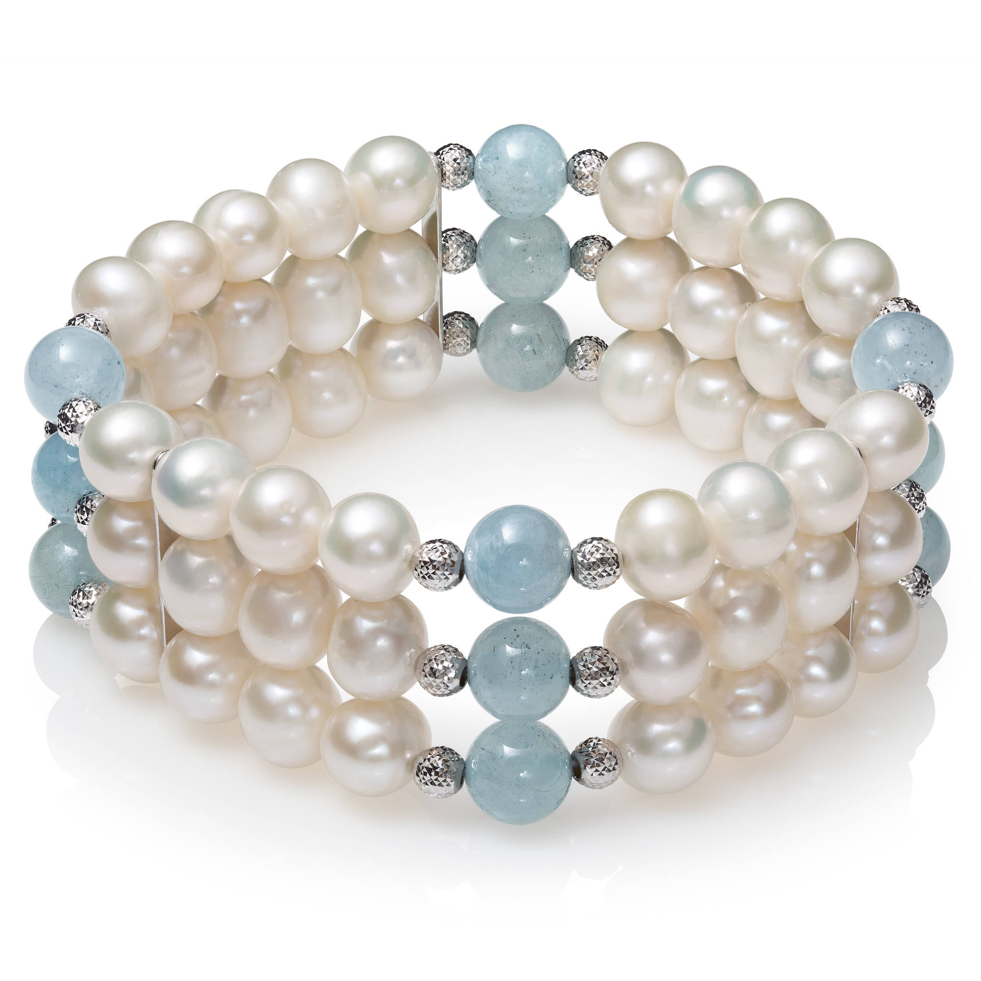 """7-8mm Cultured Freshwater Pearl and Milky Aquamarine 3-Row Stretch Bracelet with Sterling Silver Accent Beads, 7.5"""" by China Pearl"""