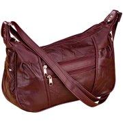 Burgundy Patch Leather Handbag
