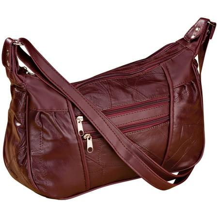- Burgundy Patch Leather Handbag