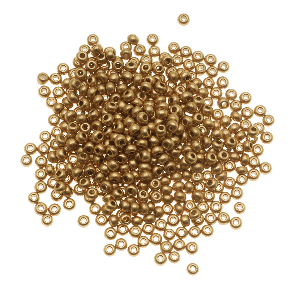 Czech Seed Beads 8/0 Light Gold Supra Metallic (1 Ounce)